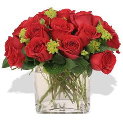 Gaziantep 14 şubat sevgililer günü çiçek  10 adet kirmizi gül ve cam yada mika vazo