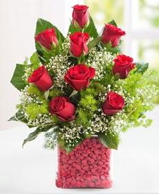 Cam içerisinde 9 adet kırmızı gül  Gaziantep güvenli kaliteli hızlı çiçek