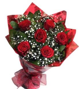 6 adet kırmızı gülden buket  Gaziantep çiçekçiler