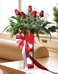 Camda 5 kırmızı gül tanzimi  Gaziantep 14 şubat sevgililer günü çiçek