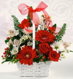 Karışık rengarenk mevsim çiçek sepeti  Gaziantep online çiçekçi , çiçek siparişi