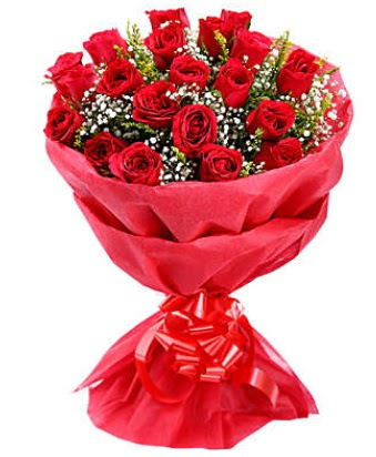 21 adet kırmızı gülden modern buket  Gaziantep uluslararası çiçek gönderme