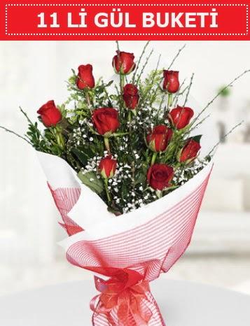 11 adet kırmızı gül buketi Aşk budur  Gaziantep cicek , cicekci