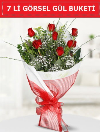7 adet kırmızı gül buketi Aşk budur  Gaziantep anneler günü çiçek yolla