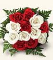 Gaziantep hediye sevgilime hediye çiçek  10 adet kirmizi beyaz güller - anneler günü için ideal seçimdir -