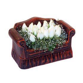 seramik içerisinde 11 gül  Gaziantep çiçek servisi , çiçekçi adresleri