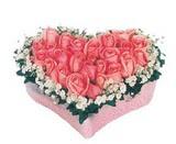 kalp içerisinde 9 adet pembe gül  Gaziantep anneler günü çiçek yolla