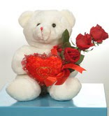 3 adetgül ve oyuncak   Gaziantep internetten çiçek siparişi