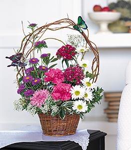 Gaziantep çiçek yolla  sepet içerisinde karanfil gerbera ve kir çiçekleri