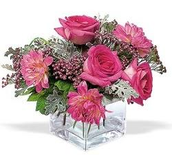 Gaziantep çiçek yolla  cam içerisinde 5 gül 7 gerbera çiçegi