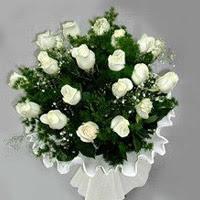 Gaziantep çiçek servisi , çiçekçi adresleri  11 adet beyaz gül buketi ve bembeyaz amnbalaj