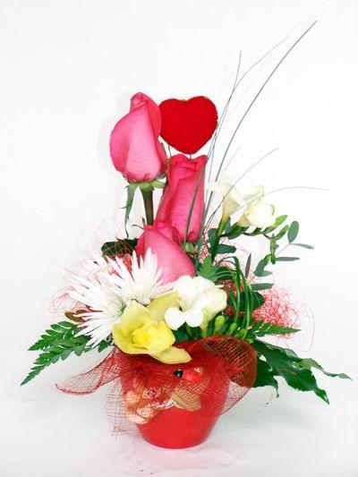 Gaziantep çiçek online çiçek siparişi  cam içerisinde 3 adet gül ve kir çiçekleri