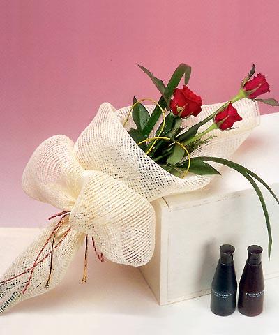 3 adet kalite gül sade ve sik halde bir tanzim  Gaziantep online çiçekçi , çiçek siparişi