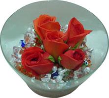 Gaziantep çiçekçi telefonları  5 adet gül ve cam tanzimde çiçekler