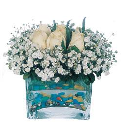 Gaziantep çiçek mağazası , çiçekçi adresleri  mika yada cam içerisinde 7 adet beyaz gül
