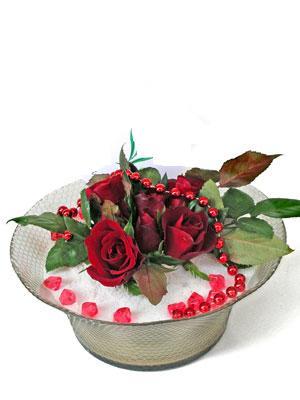 Gaziantep çiçek yolla , çiçek gönder , çiçekçi   EN ÇOK Sevenlere 7 adet kirmizi gül mika yada cam tanzim