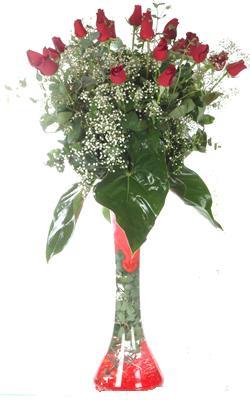 Gaziantep çiçek gönderme  19 ADET GÜL VE FIL CAM AYAGI
