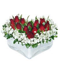Gaziantep online çiçekçi , çiçek siparişi  mika kalp içerisinde 9 adet kirmizi gül