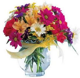 Gaziantep güvenli kaliteli hızlı çiçek  cam yada mika içerisinde karisik mevsim çiçekleri