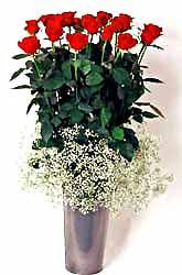 Gaziantep çiçek gönderme sitemiz güvenlidir  9 adet kirmizi gül cam yada mika vazoda