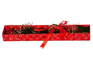 Gaziantep 14 şubat sevgililer günü çiçek  kutu içerisinde 1 adet kirmizi gül