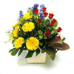 Gaziantep İnternetten çiçek siparişi  9 adet gül ve kir çiçekleri cam yada mika vazoda