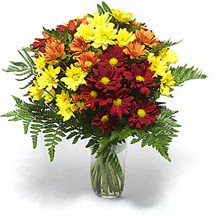 Gaziantep kaliteli taze ve ucuz çiçekler  Karisik çiçeklerden mevsim vazosu