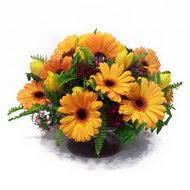 gerbera ve kir çiçek masa aranjmani  Gaziantep çiçek yolla , çiçek gönder , çiçekçi