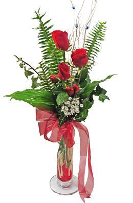 Çiçek gönderin cam vazoda 3 gül çiçekleri  Gaziantep kaliteli taze ve ucuz çiçekler