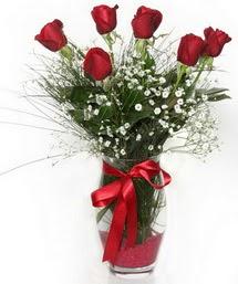 7 adet gülden cam içerisinde güller  Gaziantep çiçekçi telefonları
