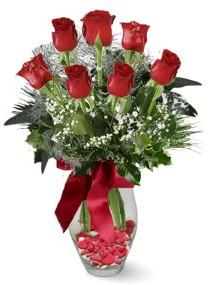 7 adet vazoda gül  Gaziantep güvenli kaliteli hızlı çiçek  kirmizi gül