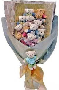12 adet ayiciktan buket tanzimi  Gaziantep çiçek gönderme sitemiz güvenlidir