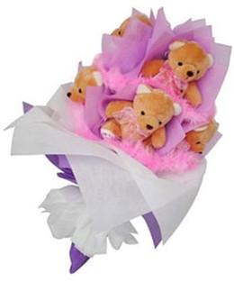 9 adet ayiciktan buket  Gaziantep çiçek , çiçekçi , çiçekçilik