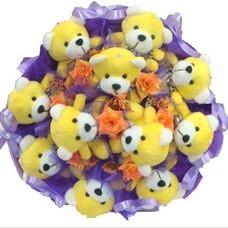 11 adet pelus ayicik buketi  Gaziantep çiçekçi mağazası