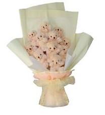 11 adet pelus ayicik buketi  Gaziantep çiçek online çiçek siparişi