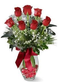 Gaziantep online çiçekçi , çiçek siparişi  7 adet kirmizi gül cam vazo yada mika vazoda