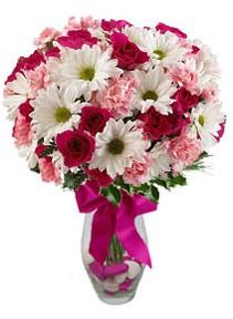 Gaziantep kaliteli taze ve ucuz çiçekler  Karisik mevsim kir çiçegi vazosu