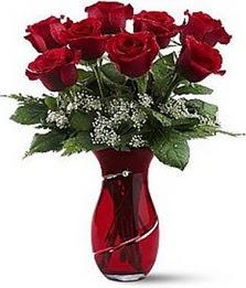 Vazo içinde 8 adet kirmizilar içinde güller  Gaziantep online çiçekçi , çiçek siparişi