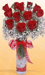 10 adet kirmizi gülden vazo tanzimi  Gaziantep kaliteli taze ve ucuz çiçekler