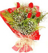 Gaziantep çiçek satışı  5 adet kirmizi gül buketi demeti