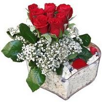 Gaziantep internetten çiçek satışı  kalp mika içerisinde 7 adet kirmizi gül