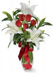 Gaziantep çiçek yolla , çiçek gönder , çiçekçi   5 adet kirmizi gül ve 3 kandil kazablanka