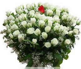 Gaziantep güvenli kaliteli hızlı çiçek  100 adet beyaz 1 adet kirmizi gül buketi