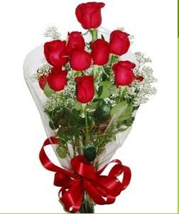 Gaziantep çiçek gönderme  10 adet kırmızı gülden görsel buket