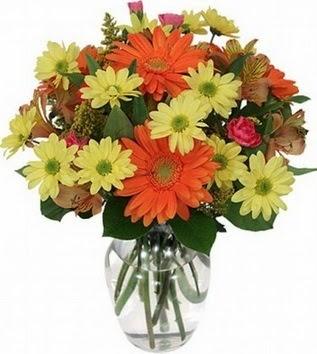 Gaziantep çiçek , çiçekçi , çiçekçilik  vazo içerisinde karışık mevsim çiçekleri