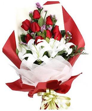 Gaziantep yurtiçi ve yurtdışı çiçek siparişi  1 dal kazablankaa 9 adet kırmızı gül buketi