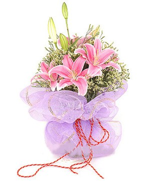 3 dal kazablanka görsel buketi  Gaziantep güvenli kaliteli hızlı çiçek