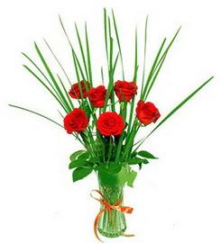 Gaziantep hediye sevgilime hediye çiçek  6 adet kırmızı güllerden vazo çiçeği