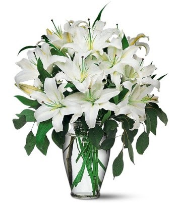 Gaziantep güvenli kaliteli hızlı çiçek  4 dal kazablanka ile görsel vazo tanzimi