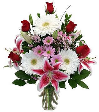 Gaziantep çiçekçi mağazası  1 dal kazablanka 5 gül ve kırçiçeği vazosu